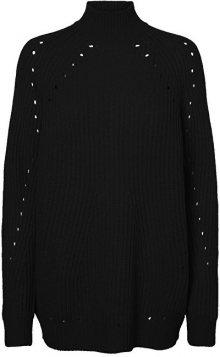 Vero Moda Dámský svetr Jay Echo Ls Highneck Long Blouse Black XS
