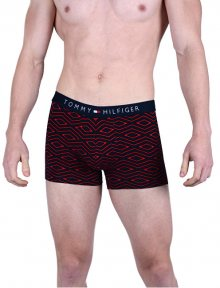 Tommy Hilfiger Pánské boxerky Cotton Icon Trunk Geo Folk Tango Red UM0UM00923-611 M