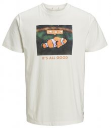 Jack&Jones Pánské triko Messenger Tee Ss Crew Neck Cloud Dancer Slim-Fish Print S