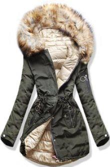 MODOVO Dámská zimní bunda s kapucí W-707 khaki-béžová