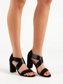 Zajímavé  sandály dámské černé na jehlovém podpatku