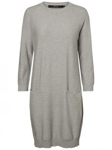 Vero Moda Dámské šaty Galtine 7/8 O-neck Dress Light Grey Melange M