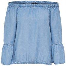 ONLY Dámské triko Sandy Off Shoulder Dnm Top Light Blue Denim 36