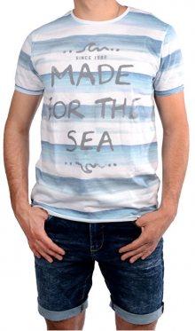 Cars Jeans Pánské bílé tričko s potiskem Salty White 4046723 M