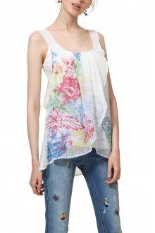 Desigual bílý dámský top Blus Nuria s barevnými motivy - M