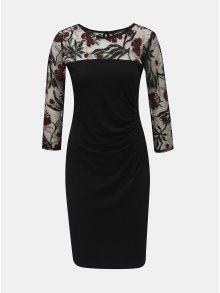 Černé šaty s průsvitnými vzorovanými rukávy a řasením na boku Billie & Blossom