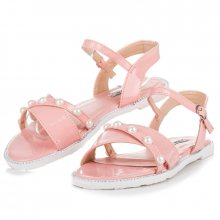 Ploché růžové sandály s perličkami