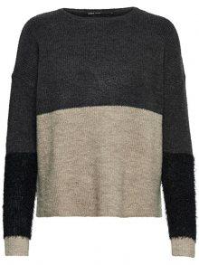 ONLY Dámský svetr Santana L/S Block Pullover Knt Dark Grey Melange XS