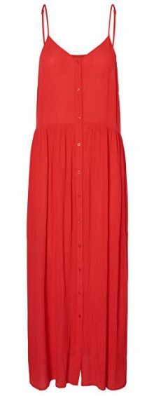 Vero Moda Dámské šaty Morning Midi Dress Chinese Red S