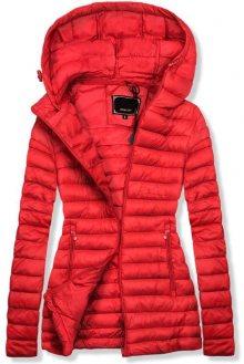 Červená jarní prošívaná bunda