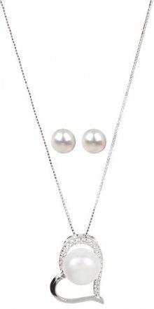 JwL Luxury Pearls Stříbrná souprava náhrdelníku a náušnic s pravými perlami JL0462 (náušnice, řetízek, přívěsek)