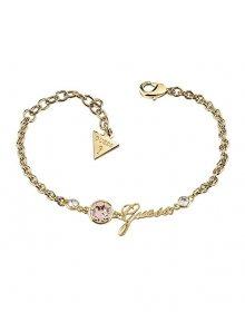 Guess Pozlacený fashion náramek s růžovým krystalem a nápisem UBB83027-S