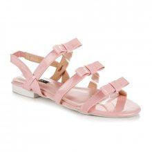 Lakované růžové sandály s mašličkami