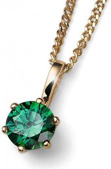 Oliver Weber Pozlacený stříbrný náhrdelník s krystalem Brilliance 61125G GRE (řetízek, přívěsek)