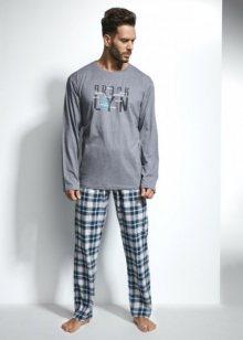 Cornette Long Island 2 124/108 Pánské pyžamo M šedo-modrá
