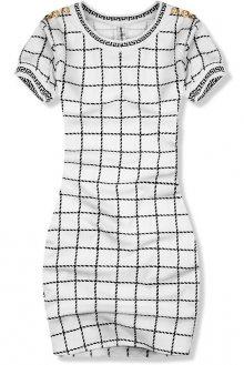 Bílo-černé šaty káro