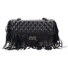 Krásná černá prošívaná crossbody kabelka s třásněmi