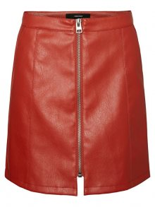 Vero Moda Dámská sukně Jana Connery Short Faux Leather Skirt Ketchup S