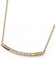 Oliver Weber Pozlacený ocelový náhrdelník s čirými krystaly Back 11774G