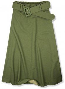 Khaki midi sukně s opaskem