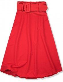 Červená midi sukně s opaskem