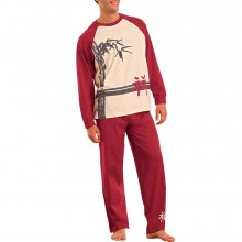 Blancheporte Pyžamo s dlouhými kalhotami, dlouhé rukávy režná/bordó 117/126 (XXL)