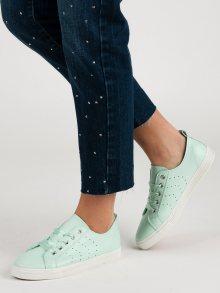 Komfortní dámské  tenisky zelené bez podpatku