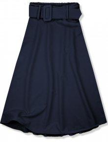 Tmavě modrá midi sukně s opaskem