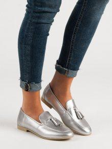 Stylové  mokasíny dámské šedo-stříbrné bez podpatku