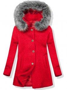 Vlněný podzimní kabát 1950 červená/šedá