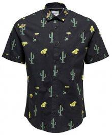 ONLY&SONS Pánská košile Sane Ss Aop Poplin Shirt Black S