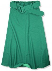 Zelená midi sukně s opaskem