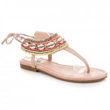Efektivní růžové vázané sandály s etnickým vzorem