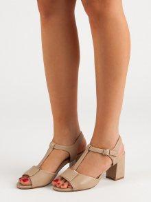 Designové  sandály hnědé dámské na širokém podpatku