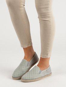 Praktické  tenisky šedo-stříbrné dámské bez podpatku