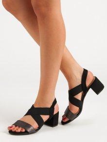 Trendy černé dámské  sandály na širokém podpatku