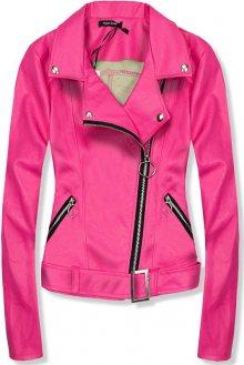 Krátká růžová koženková bunda