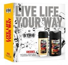 STR8 Rebel - deodorant s rozprašovačem 85 ml + sprchový gel 250 ml - SLEVA - pomačkaná krabička