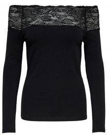 ONLY Dámské triko Celeste L/S Lace Top Jrs Black L