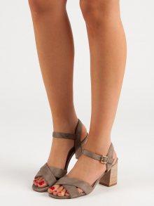 Zajímavé hnědé  sandály dámské na širokém podpatku