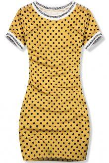 Žluto-černé puntíkované šaty