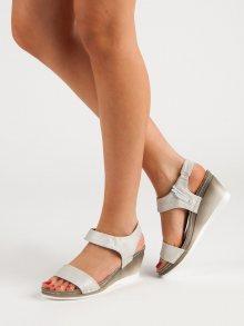 Luxusní  sandály šedo-stříbrné dámské na klínku