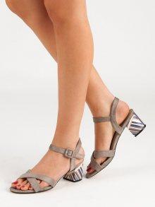 Exkluzívní hnědé  sandály dámské na širokém podpatku