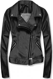 Krátká černá koženková bunda