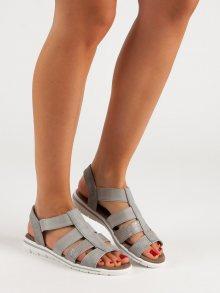 Pohodlné  sandály šedo-stříbrné dámské bez podpatku