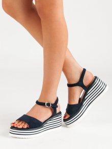 Designové modré  sandály dámské na klínku
