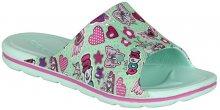 Coqui Dětské pantofle Long Printed Mint Hearts 6375-224-3900 28-29