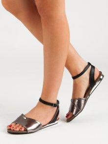 Výborné  sandály dámské šedo-stříbrné bez podpatku