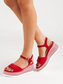 Originální červené  sandály dámské na klínku