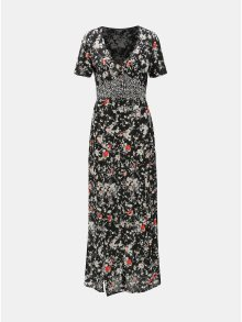 Černé květované maxišaty s rozparky Miss Selfridge